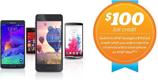 AT&T Next $100 Bill Credit