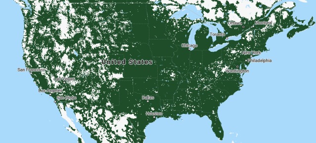 Tello Coverage Map (via Sprint Network)